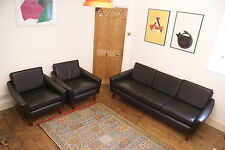 Danish Leather Sofa and arm chairs with teak legs- Danish Borge Mogensen style