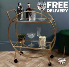 Free P&P Large Round Drinks Trolley 2 Tier Antique Gold Brand New Art Deco Style