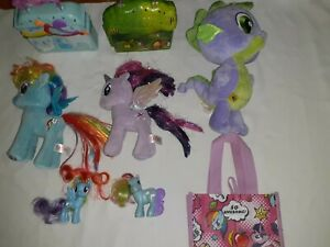 My Little Pony Lot with vintage Plush,2 Ty  Ponies & 2 Play Sets,Handled Bag!