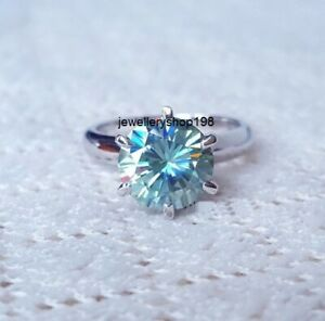 1.60Ct Blueish Green Moissanite Solitaire Engagement Ring In 925 Sterling Silver