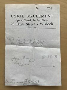 60's Sports Leather Goods Receipt High Street Wisbech Isle Of Ely Cambridgeshire
