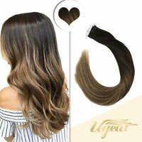 Ugeat Remy Tape in Human Hair Extensions 50g Black to Brown Balayage 1b/3/12#