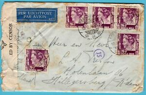 NETHERLANDS EAST INDIES air cover 1940 Soerabaja to Rotterdam - Singapore censor