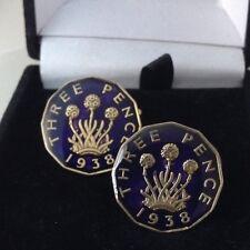 Enamelled 1938 Threepence Coin Cufflinks. Blue/gold. 81st Birthday
