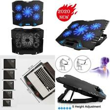 Laptop Cooling Pad 5 Fans Cooler Stand External Mat Adjustable Foldable 15.6 In