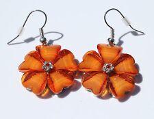 Earring Sparkle Hibiscus Plumeria Heart Flower Dangle Hawaii Luau CZ Orange