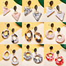 Fashion Women Vintage Acrylic Geometric Triangle Drop Dangle Stud Gold Earrings