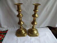 Beautiful Antique Pair Victorian Brass Candlesticks 28 cm