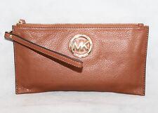 MICHAEL KORS 35S3GFTW3L Fulton Tan Pebbled Leather Wristlet Purse Gold Hdwr $88
