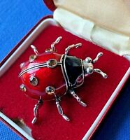 Lovely Vintage Style Enamel & Crystal Ladybird Brooch insect bug silver tone
