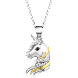 Einhorn Kette für Mädchen S925 Sterling Silber 18k gold plattiert Pferd Pony