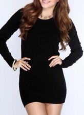 Women Ultra Soft Premium Long Sleeves Boatneck Perfect Fit Mini Dress S-4XL