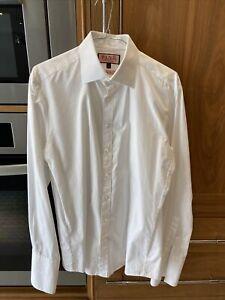 Mens Thomas Pink White Shirt 15.5/39cm Slim Fit