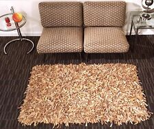 """LEATHER SHAG RUG HAND KNOTTED BROWN TAN 40"""" x 64"""""""