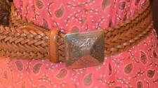 Brown Boho Hippie Woven Leather Belt With Silver Cowgirl Cowboy Western Belt SM