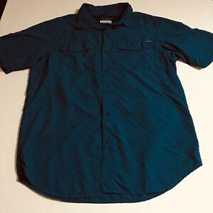 Columbia PFG Omni-Shade Mens Medium Blue Short Sleeve Fishing Shirt Vented