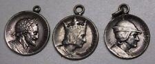 3 anciennes médailles de roi de France en métal argenté