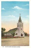 OLD WB Postcard CA G114 St Marys Church Santa Maria California Street View Nice