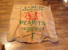 Vintage Pond Bros peanuts burlap bag Virginia advertising