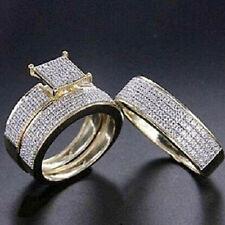 1.50 Ct Diamond Engagement Wedding Rings His & Her Trio Set 14K Yellow Gold Fn