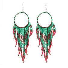 Women Retro Bohemian Ethnic Wind Earrings Long Rice Beads Fringed Hook Earrings