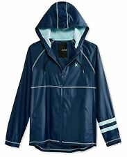Hurley Mens Full Zip Hooded Long Sleeve Windbreaker Jacket XL Navy Blue $60