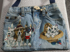 Homemade Denim Jean Purse with Applique Dogs, Puppies