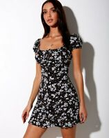 MOTEL ROCKS Galaca Mini Dress in Dark Wild Flower   (mr13.1)