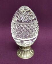 French D'argues Lead Crystal Glass Embossed Egg w/ Pewter Pedestal
