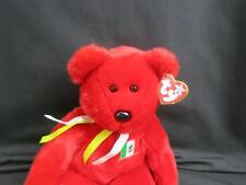 RARE TY 1999 RED TEDDY BEAR OSITO MEXICO MEXICAN FLAG PLUSH STUFFED ANIMAL MWT