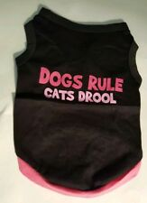 """Dog Tee Shirt Costume Clothing Dogs Rule Cats Drool Small 10-12"""" Collar Stretch"""