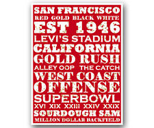 San Francisco SF 49ers Art Poster NFL Football Subway Print 12x16""