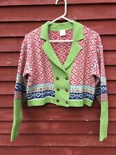 NWOT Cropped Oilily Cardigan Women's Sweater Size M Wool Acrylic Blue Hearts
