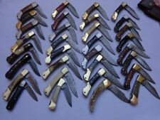 LOT OF 33 CUSTOM HANDMADE DAMASCUS STEEL Pocket FOLDING KNIVES - 28003