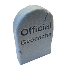 Grave Stone Geocache made with Marble Effect Plastic with 60 space Log Sheet NEW