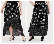 c4915dc8739 Torrid Black Polka Dot Challis Wrap Skirt 3X 22 24  21358