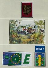 JE195) Jersey 2000 Europa (2) + Year of the Dragon M/S + £10 Millennium (1) MUH