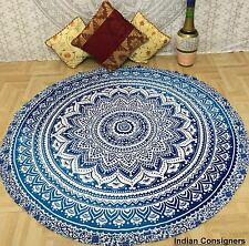 Roundie Beach Towel Tapestry Cotton Ombre Hippie Round Indian Meditation Mat Art