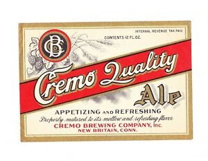 Un-Used 1940s IRTP CREMO QUALITY ALE beer label from CONNECTICUT !!