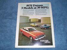 """1975 Datsun B-210 Hatchback & Sedan Vintage Ad """"3 Models at 39 MPG"""""""