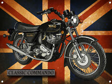 LARGE A3 SIZE COMMANDO CLASSIC MOTORCYCLE METAL SIGN,CLASSIC,COLLECTABLE.