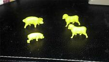 Lot of 4 Tim-Mee Animals. Pigs and Sheep.  Yellow Plastic  (1960s)