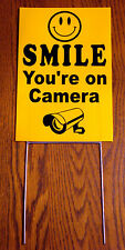 (4) SMILE YOU'RE ON CAMERA Coroplast  YARD SIGNS 8x12  w/ Stakes  NEW Security