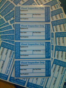 200 X Passed Visual Inspection Pat Test Stickers labels