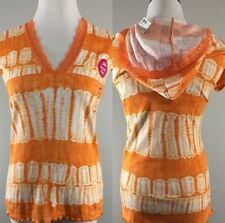 Justice Top Size XL/16 Girls Orange Tie Dyed Short Sleeve Hooded Tunic Lace Trim