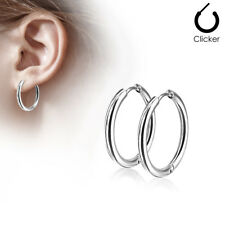 Pair 316L Surgical Steel Hinge Action Seamless Hoop Earrings
