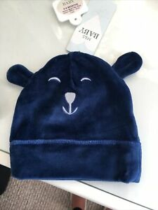 M&S Baby Hat Cute Bear  Blue Soft Velour , New With Tags 0-6 Months