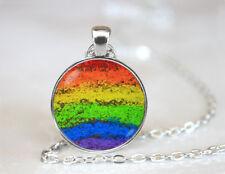 Vintage Rainbow pendant Dome Tibetan silver Glass Chain Pendant Necklace