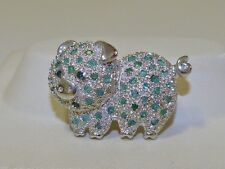 GENUINE! 0.75cts Columbian Emerald & Sapphire Pig Brooch, Sterling Silver 925