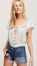 FREE PEOPLE Low Scoop Neck Crop Blouse Ivory Womens Top Size L Summer NWT $98